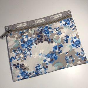 LeSportsac Flower Cluster Khaki Zip Pouch